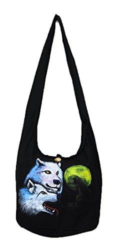 Pada Craft Shop Thailändischer Hippie Hobo Schultertasche mit Reißverschluss, Wolf und Vollmond Handbemalt, Baumwolle, Gypsy Boho, groß