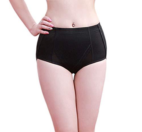 Sodacoda Damen Figurformende Po Push-Up Bauch-Weg Effekt Mieder Hose inkl entnehmbare Polster (Schwarz XL)