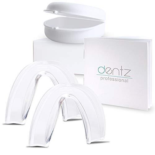 Dentz Professional Aufbissschiene (2 Stk) inkl. Aufbewahrungsbox, BPA frei, Zahnschutz beim nächtlichen Zähneknirschen, Knirscherschiene, Zahnschiene, Mouthguard - 100% ige Zufriedenheitsgarantie -