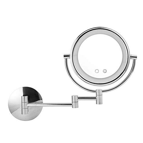 XIMAKEUP Bad Rasierspiegel Mit LED-Licht Und 3X Lupe Touchscreen Einziehbare Verlängerungshalterung Doppel Chrom Runde Wandspiegel 8/9 Zoll (größe : 9inch) -