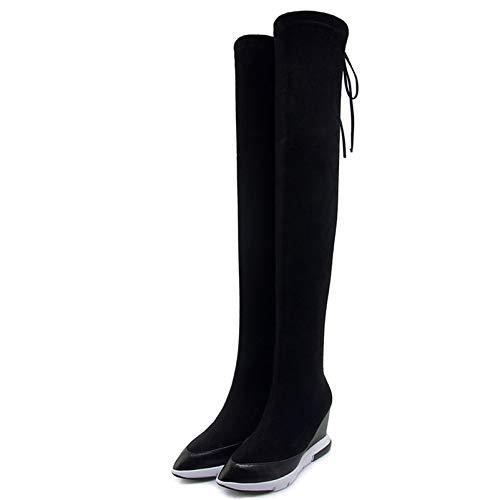 MENGLTX High Heels Sandalen Neue Frauen Overknee High Boots Wedges High Heels Schnüren Lange Warme Winterschuhe Frau Schlank Enge High Party Stiefel 4 Schwarz (High Heel Wedge Boots)