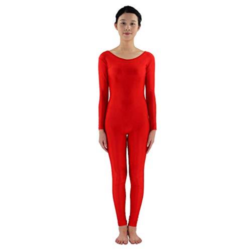 Fenteer Herren Damen Ganzkörperanzug Lange Ärmel Bodysuit Catsuit Dancewear Atmungsaktive Second Skin Suit Zentai Catsuit Kostüm - rot, M