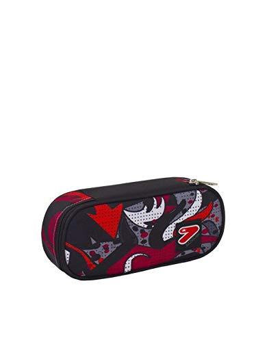 Portapenne round plus scuola seven the double - flame - nero rosso - porta penne