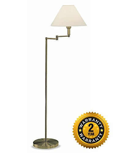 Sl662 Swing Arm Floor Lamp Polished Brass With A Cream Shade