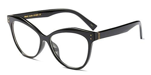 Bozevon donna moda classico montatura occhiali da vista occhiali con lenti trasparenti occhio di gatto festa occhiali, nero