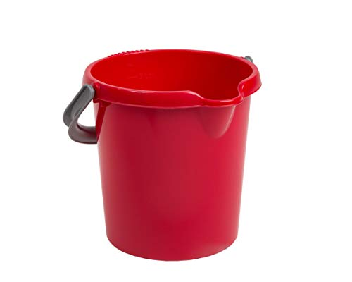 Whatmore Casa Eimer, 5 l, Chili-Rot, Kunststoffeimer für Kinderspielzeug, Aufbewahrungskorb für Wasser, Haushalt, Farbe, Pinsel, Spule, Farbbehälter, Farbeimer