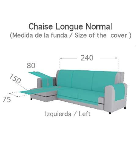 Textilhome - Copridivano Salvadivano Chaise Longe Adele - Color Grey -BRACCIOLO Sinistra - Protezione per divani Imbottiti - Dimencione 240cm -(Visto di Fronte).