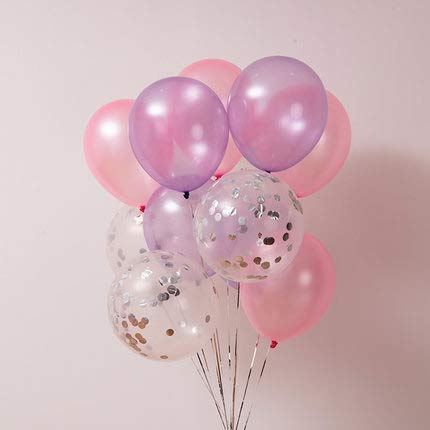 llons, 40 Stück 12 Zoll Rosa Luftballons Rosa Luftballons Lavendel Luftballons Silber Konfetti Luftballons für Disney Princess Party Supplies, Rosa und Gold Geburtstag Dekorationen ()
