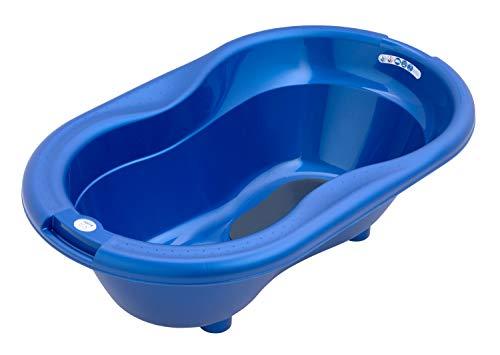 Rotho Babydesign TOP Badewanne, Mit Antirutschmatte und Ablaufstöpsel, 0-12 Monate, TOP, Royal Blue Pearl (Dunkelblau), 200010265