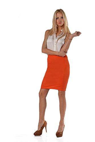 elomoda Bleistiftrock Rock in verschiedene Farben Gr. 36 38 40 42 , 3616 Orange
