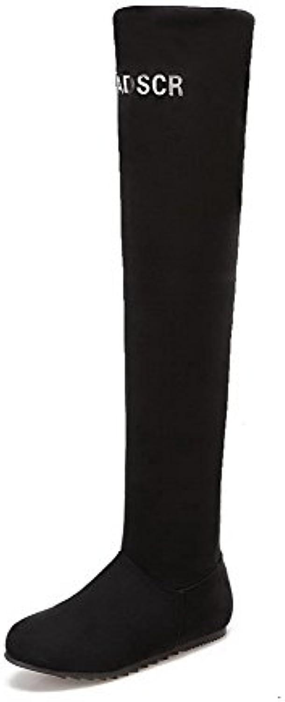 AgooLar Mujeres Sin Cordones Puntera Redonda Mini Tacón Gamuza(Imitado) Caña Alta Botas