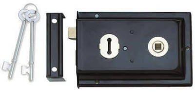 Black Finished Reversible Rim Lock JL189BL