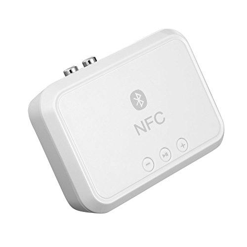 Bluetooth-auto Stereo-cinch (Andven Bluetooth 4.1 Audio Empfänger, NFC Stereo Audio Music Receiver Adapter Audiogeräte, für KFZ Auto Lautsprechersystem mit 3.5 mm Aux Input - Weiß)