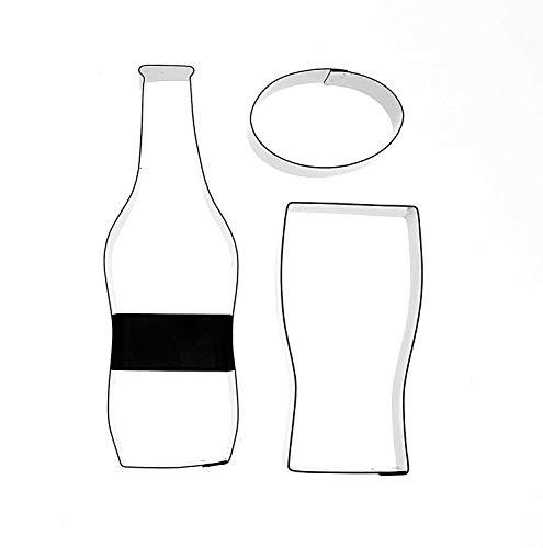 &emporte-pièces pour pâte à sucre décoration de gâteaux en forme de bouteille de bière, verre et étiquette-Set de 3 emporte-pièces pour gâteaux fantaisie et autres célébrations