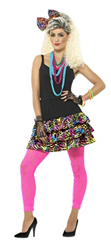 Smiffys 80s Party Girl Kit. Includes Multi-Coloured Skirt, Headpiece & Necklace. Sizes 8 to 18