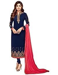 98decda6e4 GANESH_CREATIONS Women's Georgette Semi-Stitched Salwar Suit Material (Blue  & Orange)