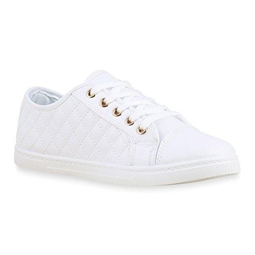 Sneakers Low Damen Lack & Glitzer Turnschuhe Freizeit Schuhe Weiss Total