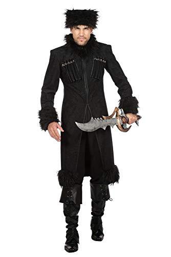 Kostüm Zarin - shoperama Herren Mantel und Mütze Dark Lord Zar Kosaken Kostüm Fell Kubanka Militär Armee Uniform Krieger Russland Ukraine, Größe:52