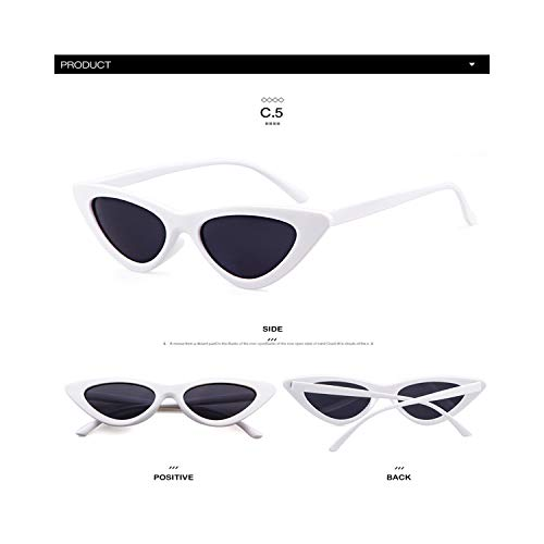 Sportbrillen, Angeln Golfbrille,Longkeeper Cute Sexy Retro Cat Eye Sunglasses Women Small Black White NEW Triangle Vintage Cheap Sun Gglasses Red Female UV400 C5