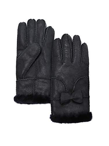 YISEVEN Damen Shearling Winterhandschuhe mit Warm Gefüttert Winter Lammfell Leder Autofahrer Handschuhe, Shinning Schwarz XL -