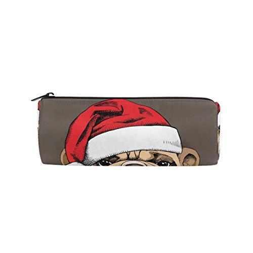 MONTOJ Bulldog mit Schleife und Weihnachtsmütze Federmäppchen Kosmetiktasche -