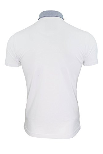 Herren Polo Shirt BRAVE SOUL Chimera Baumwolle Chambray Kragen Kurzarm T-Shirt Chimera - Weiß