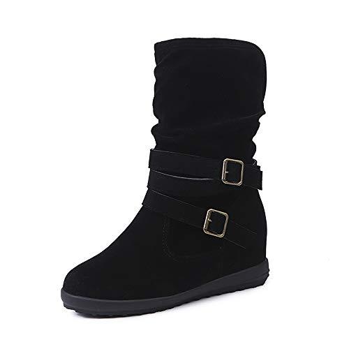 Damen Stiefel Mumuj Sale Elegant Low Wedge Schnalle Biker Ankle Shoes Zipfelflach Ankle Schneestiefel Flach billige Schnellverschluss Freizeitschuhe