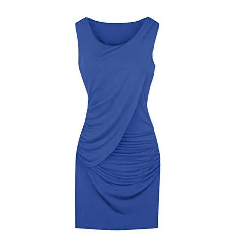 IMJONO Frauen Rock, S-5XL Plus Size Elegantes Frauen-Partykleid-Sommer-Art und Weise Sleeveless Normallack(XXXX-Large,Blau)