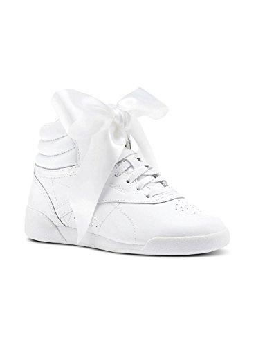 Reebok Mädchen Freestyle Hi Satin Bow Gymnastikschuhe, Elfenbein (Whiteskull Grey), 29 EU (Reebok Freestyle Hi)
