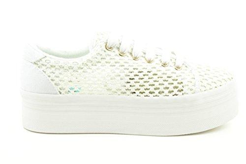 Baskets basses JC Play en tricot motif ajouré blanc Bianco