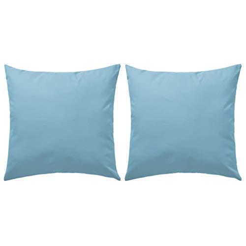 Festnight- 2er Pack Gartenkissen Wasserabweisendes Kissen 60 x 60 cm für Gartenbänke, Stühle oder Sofas Hellblau