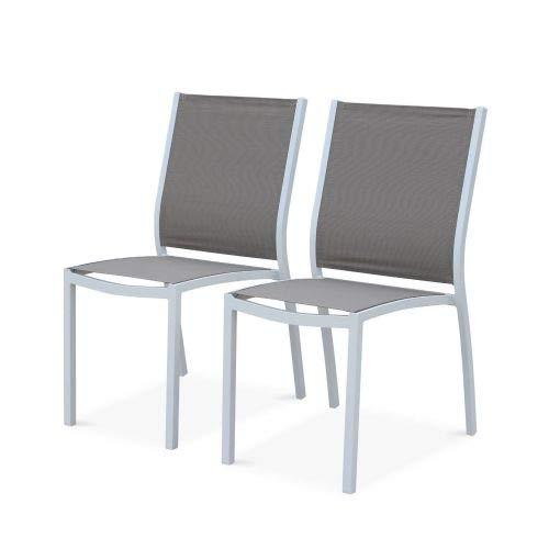 Alice's Garden Lot de 2 chaises - Orlando Blanc/Taupe - en Aluminium Blanc et textilène Taupe, empilables