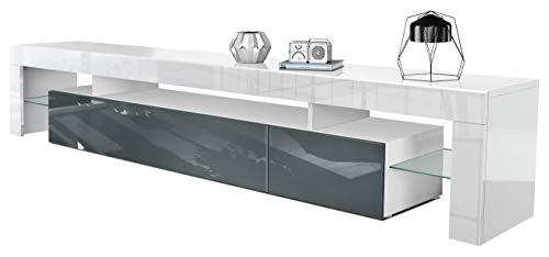Vladon TV Schrank Lowboard Fernsehschrank Fernsehtisch Wohnzimmer Lima V2 in Weiß/Grau Hochglanz