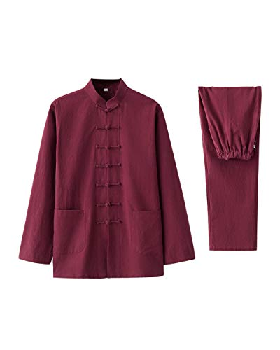 besbomig Baumwolle Leinen Tai Chi Uniform Hemden Hosen für Männer - Zwei Stücke Traditionell Hanfu Tang Anzug Kampfkunst Kleidung Unisex Erwachsener Setzt