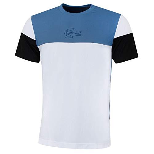 Lacoste Herren Tennis Pique Block T-Shirt - Neottia/Weiß-Schwarz - XL - Pique-tennis-shirt