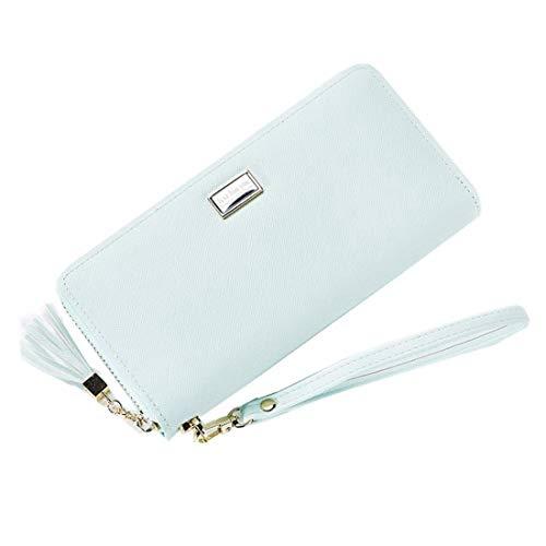 HeiPlaine Weiblich Frauen Lange Brieftasche aus Leder Leder Kartenhalter Reißverschluss um Clutch Wallet Wristlet Geldbörse Griff Tasche (Farbe : Green)