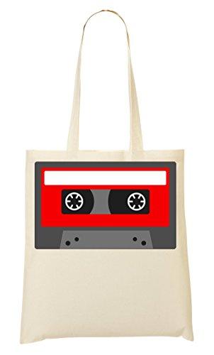 CP Minimalistic Red Cassette Tape Graphic Bolso De Mano Bolsa De La Compra