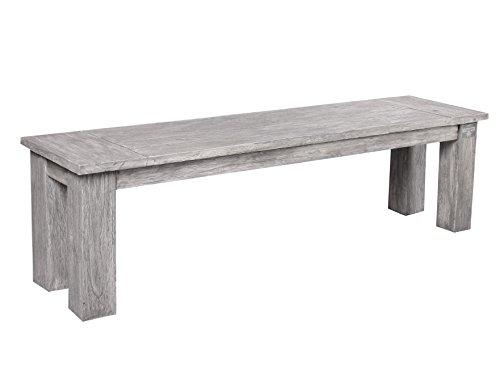Strandgut07 massive Teakbank 160 x 40 cm Bank grau wash Küchenbank Massivholz stabil Sitzbank ohne Rückenlehne für Innen und Aussen Gartenbank