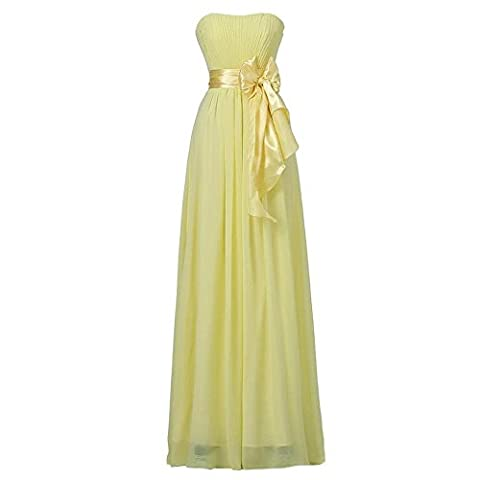 women evening dress long wedding party bridal bridesmaids birthday prom banquet bow knot chiffon dresses . yellow . us6