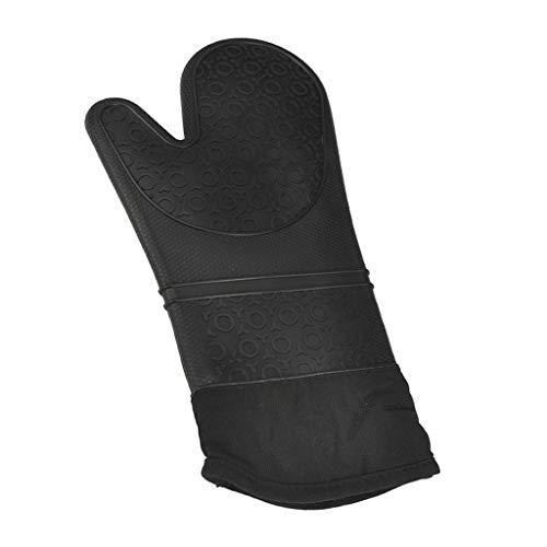 FLAMEER Wärmebeständiger Silikon-Kochhandschuhe Flexibel und atmungsaktiv Ofenhandschuhe Backhandschuhe - Schwarz