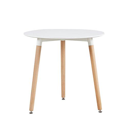 EGGREE Runder Esstisch Weiß Skandinavisch Esszimmertisch MDF Küchentisch Modern mit 3 Buchenbeine 80 x 70 cm -