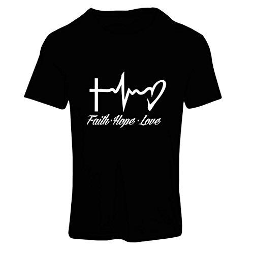 Frauen T-Shirt Glaube - Hoffnung - Liebe - 1. Korinther 13:13, christliche Zitate und Sprichwörter, religiöse Sprüche (Small Schwarz Mehrfarben)