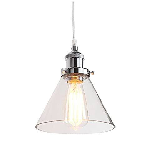 Pendant Lamp - SODIAL(R) Industrial Vintage Stainless steel head Edison 1 Light Iron Body Glass Shade Loft Coffee Bar Kitchen Hanging Pendant