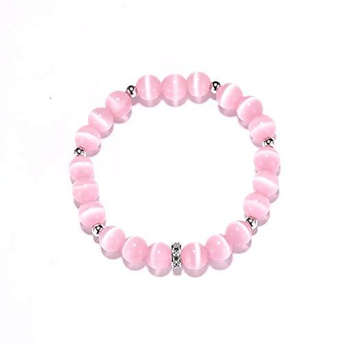 Imagen de pulsera de cuentas solidarias con cuentas de cuarzo y centro de plata con detalles de cristal, color rosa alternativa