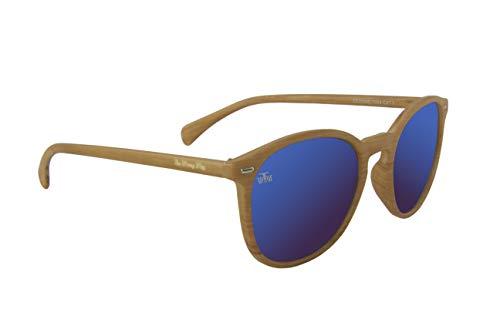 The Wrong Way Gafas de sol Efecto Madera Lentes de espejo azul. Montura resistente a golpes y deformaciones. Incluyen funda protectora grabada y toallita limpiadora