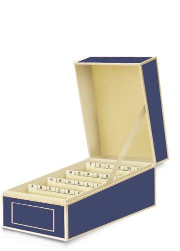 Semikolon (352638) Visitenkarten-Box mit Registern in marine (blau) - Bussiness-Card-Box - Alternative zu Visitenkartenmappe, Karteikasten