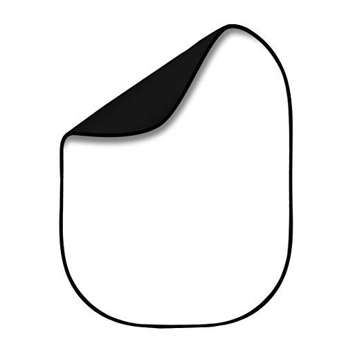 Fovitec StudioPRO - Panneau De Fond Pliable En Mousseline Recto-Verso Noir/Blanc De 1,5 m x 2 m [Etui De Transport Inclus]