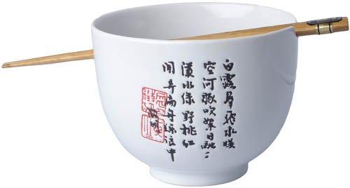 [ ZEIT WEIß ] Soba Bowl / Suppen-/Nudel-/Reisschale + 1 Paar Essstäbchen (Oben Ausbuchtung)