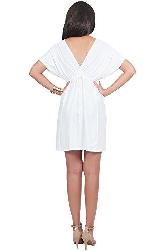 KOH KOH® Da Donna Mini abito caftano kimono a manica lunga con scollo a V Midi abito Bianco avorio
