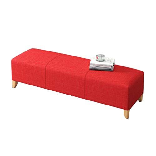 Bett Ende Bank (MJIA Rechteckige Hocker & Ottomans, Holzbein Waschbar Stoff Wohnzimmer Sofa Bank Schlafzimmer Bett Ende Hocker Fußstütze (Color : Red, Size : 100cm))